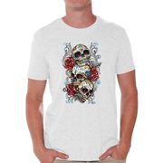 b1441713434cd Awkward Styles Three Sugar Skulls and Rosess T-shirt Top mens skull shirts  day of