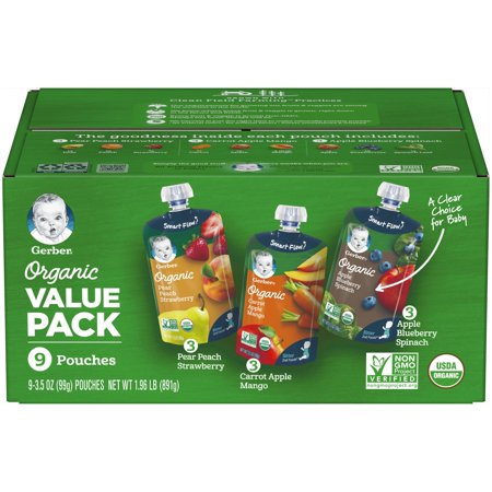 Gerber Organic 2nd Food Pouches Pear Peach Strawberry, Carrot Apple Mango & Apple Blueberry Spinach Fruit & Veggie Pouches Value Pack 9-3.5 oz. -