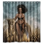 GreenDecor Low Cost Sexy Afro American Woman With Wild Leopard Unique Waterproof Shower Curtain Set
