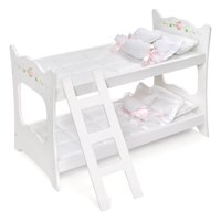 "Badger Basket Doll Bunk Bed with Ladder and Bedding - White Rose - Fits American Girl, My Life As & Most 18"" Dolls"