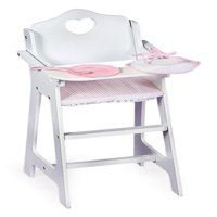 """Badger Basket Gingham Doll High Chair with Plate, Bib, and Spoon - White/Pink - Fits American Girl, My Life As & Most 18"""" Dolls"""