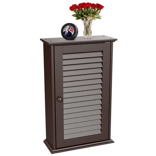 Yaheetech Bathroom Wall Mounted Single Louvered Door 3 Tier Adjustable  Storage Shelf Medicine Cabinet