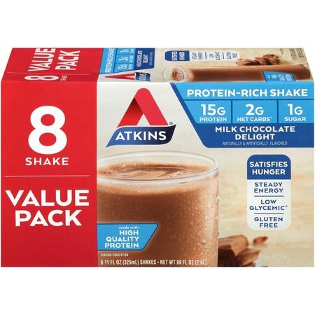 Atkins Milk Chocolate Delight Shake, 11 fl oz, 8-pack (Ready to Drink)