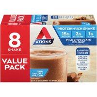 Atkins Milk Chocolate Delight Shake, 11Fl oz, 8-pack (Ready to Drink)