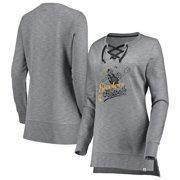dc41702009e Pittsburgh Steelers Majestic Women s Historic Hyper Lace-Up Tunic  Sweatshirt - Heathered Gray