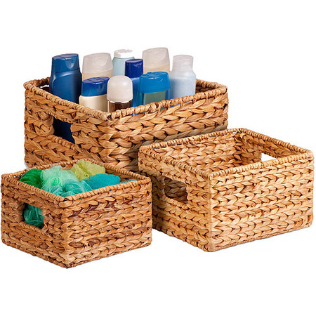 Honey Can Do Durable Nesting Water Hyacinth Baskets, Brown (Set of 3) - Cornucopia Baskets