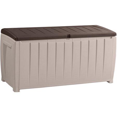 Outdoor Patio Storage Bench - Keter Novel 90-Gal Outdoor Plastic Deck Box, Brown