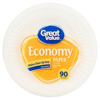 "Great Value Economy Paper Snack/Dessert Plates, 6"", 90 Count"