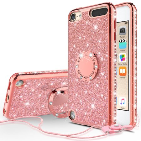 iPod Touch 6 Case, iPod touch 5 Case, [Tempered Glass Screen Protector],Glitter Ring Stand Bling Sparkle Diamond Case For Apple iPod 6/5 Generation Case - Rose Gold (Ipod Touch 4 Bling Case)