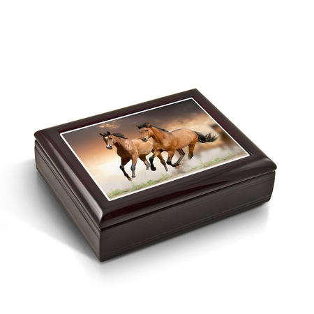 Horse Tile Box - A Pair Of Competitive Wild Horses Tile Musical Jewelry Box - Aquarius - SWISS