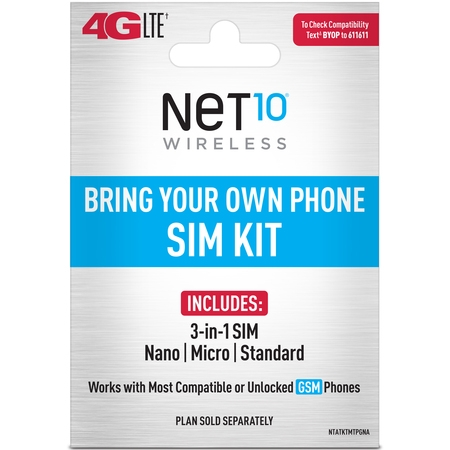 Net10 Bring Your Own Phone SIM Kit - AT&T GSM (Dual Sim Card Phone)