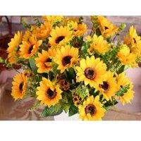 Outgeek Artificial Sunflower Bouquet Artificial Plants Fake Flowers Home Decorations, 7 Flowers Per Bunch, 3 Bunches Per Pack