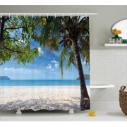 Summer Shower Curtain Tropical Beach Ocean Behind Palm Tree Caribbean Exotic Holiday Image Fabric