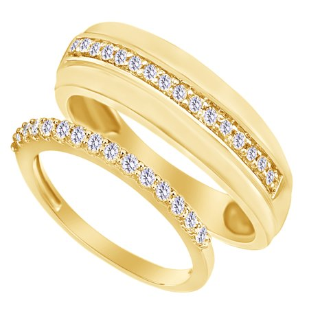 Round Cut White Natural Diamond His And Hers Wedding Band Set in 14K Yellow Gold (0.2 Cttw) By Jewel Zone