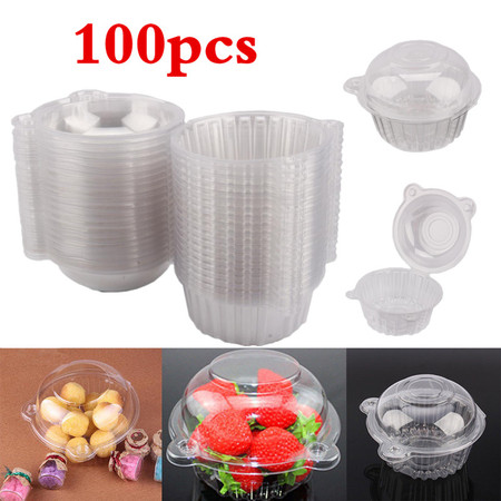 VGEBY Plastic Cupcake Box,100Pcs Plastic Cupcake Case Muffin Pods Dome Cups Cake Boxes Single Individual Cupcake Box