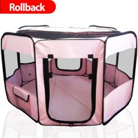 ToysOpoly Portable Pet Playpen Puppy Kennel - Best for Small and Medium Size Dogs and Cats - Simple Folding Design for Easy Storage (Pink)
