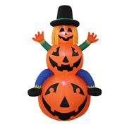 The Holiday Aisle Halloween Scarecrow Inflatable on Pumpkins