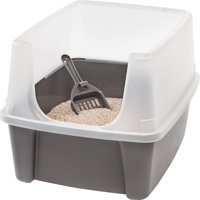 Iris Open-Top Cat Litter Box with Shield and Scoop, Dark Gray
