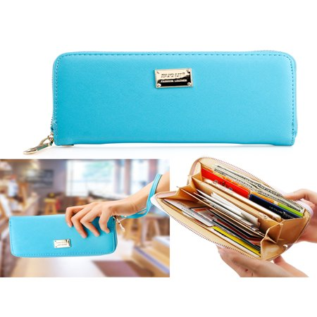 Fashion Lady Full Zipper Faux Leather Women Wallet Clutch Long Purse Card Holder (Faux Leather Wristlet)