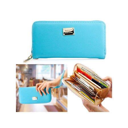 Fashion Lady Full Zipper Faux Leather Women Wallet Clutch Long Purse Card Holder Handbag (Leather Zippered Document Holder)