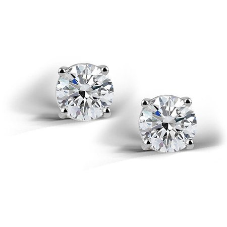 2 Carat T.G.W. Created White Sapphire Sterling Silver Round Stud Earrings, (Crislu Round Earring)