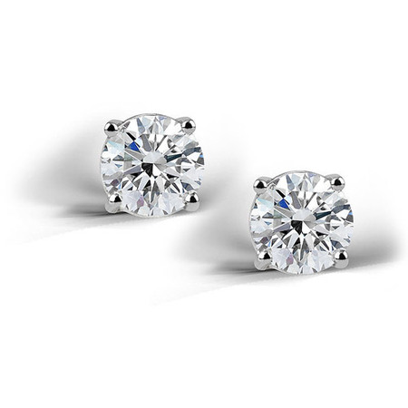 2 Carat T.G.W. Created White Sapphire Sterling Silver Round Stud Earrings, 6mm