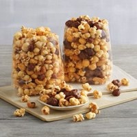 Moose Munch Premium Popcorn Tin Duo by Harry & David, Classic Caramel and Milk Chocolate (2-Pack)