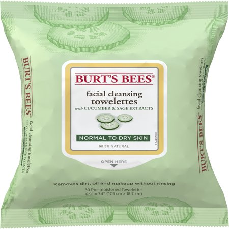 Burt's Bees Facial Cleansing Towelettes for Normal to Dry Skin, Cucumber and Sage, 30 Count ()