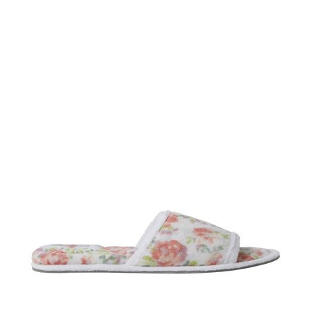 Dearfoams Womens Beatrice Microfiber Terry Slide with Quilted Vamp slippers