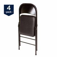 Mainstays Vinyl (4-Pack) Folding Chair in Black