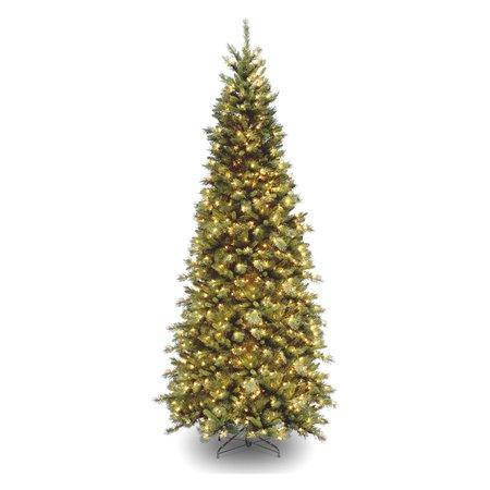 National Tree Pre-Lit 7-1/2' Tiffany Slim Fir Hinged Artificial Christmas Tree with 550 Clear (Tiffany Christmas Tree)