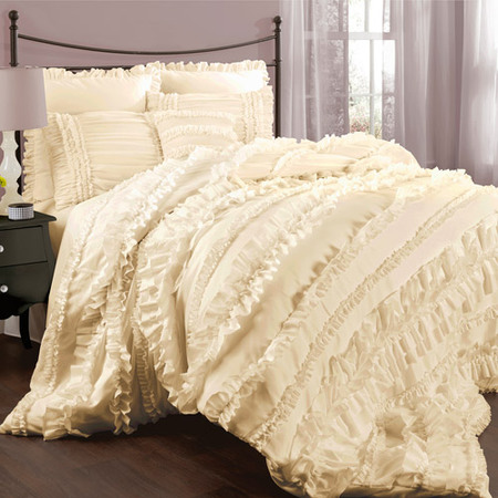Lush Décor Belle Comforter Ivory 4Pc Set Queen ()