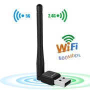 600Mbps Dual Band (2.4G/150Mbps+5G/433Mbps) Wireless USB Wi-Fi Adapter, 802.11ac w/ Antenna Network Lan Card For Windows XP/Vista/7/8/8.1/10 (32/64bits) MAC OS-Wavlink