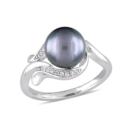 8.5-9mm Black Tahitian Pearl and Diamond-Accent 14kt White Gold Cocktail Ring ()