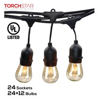TORCHSTAR 50ft Outdoor Weatherproof Commercial String Lights, Outdoor String Lights for Party, Restaurant, Garden, Patio, 24 Sockets, 36 Bulbs Included