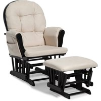Storkcraft Hoop Glider and Ottoman Black with Beige Cushions
