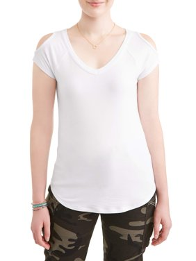 Juniors' V-Neck Cold Shoulder Short Sleeve Tee