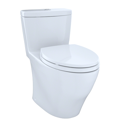 TOTO® Aquia® One-Piece Elongated Dual-Max®, Dual Flush 0.9 & 1.6 GPF Universal Height Skirted Toilet, Cotton White -