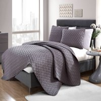 Nina 3-Piece Basket Weave Soft Textured Bedding Queen Size Quilt Set, With Shams, in Gray