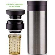 Ovente Travel Mug with Flavor Infuser, Hot/Cool Thermos, Vacuum Insulated, Stainless Steel, Nickel Brushed, 12 oz (MSA12S)