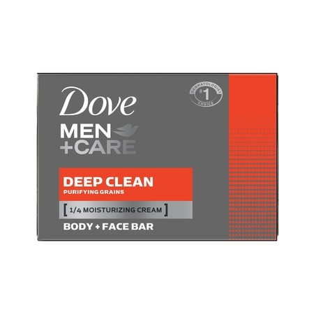 - Dove Men+Care Deep Clean, Body and Face Bar Soap, 4 oz, 10 Bar