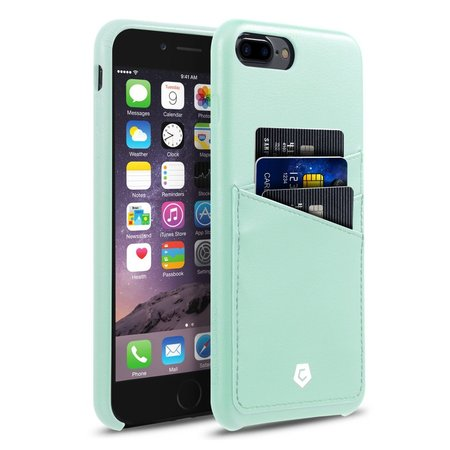 iPhone 8 Plus case, iPhone 7 Plus case, by Cobble Pro Leather Slim Rear Protective Shell Case with Card Slot Wallet Holder for Apple iPhone 8 Plus / iPhone 7 Plus - Mint Green (Ionic Pro Iphone 6 Plus Wallet)