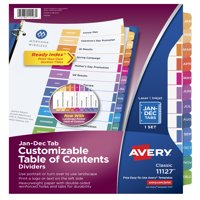 Avery Ready Index TOC Dividers, Preprinted Jan-Dec Multicolor Tabs, (11127)