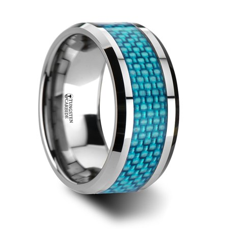 Augustus Extra Wide Tungsten Carbide Ring With Light Blue Carbon Fiber (Extra Rinse)