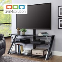 "Whalen Xavier 3-in-1 TV Stand for TVs up to 70"", with 3 Display Options for Flat Screens, Black with Silver Accents"