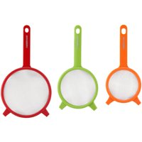 Farberware Set of 3 Strainers. Red, Green and Orange