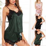 Women Girl Silk Satin Pajamas Set Pyjama Sleepwear Nightwear Loungewear  Homewear 43e80f7ff