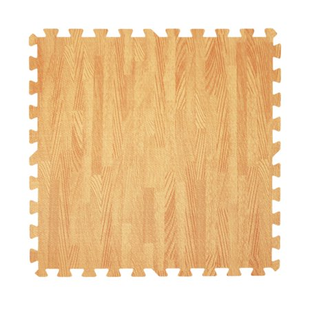 Get Rung Oak Woodgrain Fitness Mat with Interlocking Foam Tiles for Gym Flooring. Excellent for Pilates, Yoga, Aerobic Cardio Work Outs and Kids Playrooms. Perfect Exercise Mat(WOOD, 24SQFT)