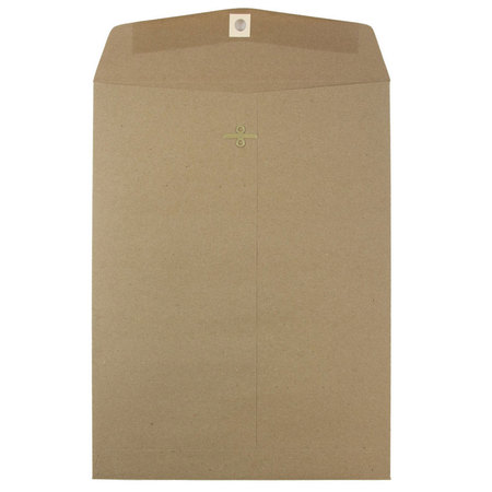 """JAM Paper 9"""" x 12"""" Open End Envelopes with Clasp Closure, Brown Kraft Paper Bag Recycled, 25/pack"""