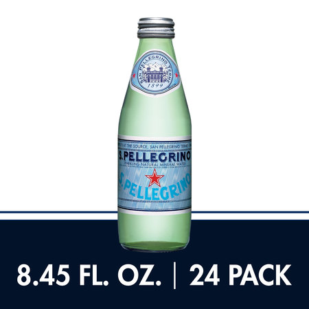 S.Pellegrino Sparkling Natural Mineral Water, 8.45 fl oz. Glass Bottles (24 (Sparkling Mineral Water)